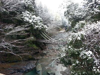 雪のかずら橋のサムネール画像